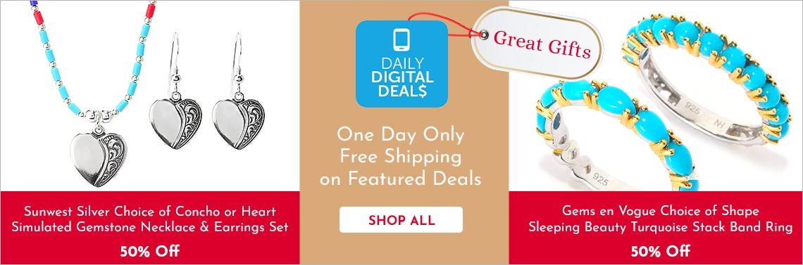 Shop All Daily Digital Deals -  177-016 Sunwest Silver Choice of Concho or Heart Simulated Gemstone Necklace & Earrings Set, 182-977 Gems en Vogue Choice of Shape Sleeping Beauty Turquoise Stack Band Ring