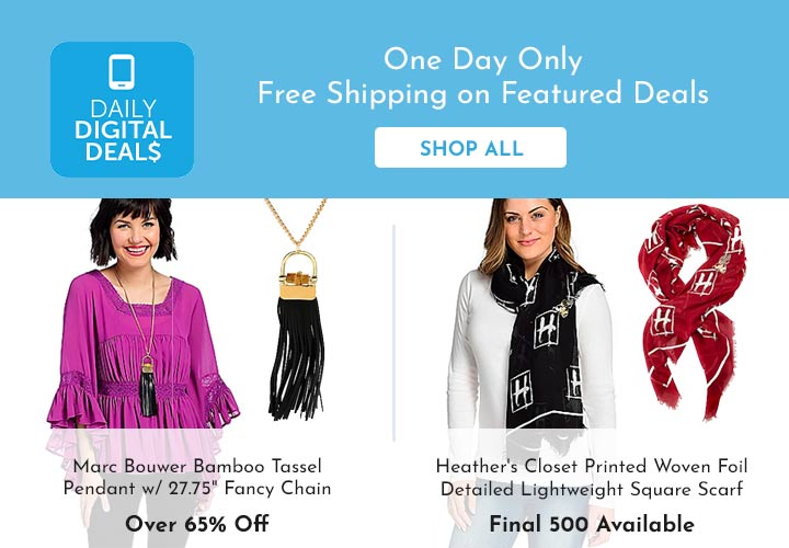 Shop All Daily Digital Deals - 741-305 Marc Bouwer Bamboo Tassel Pendant w 27.75 Fancy Chain746-217 Heather's Closet Printed Woven Foil Detailed Lightweight Square Scarf,