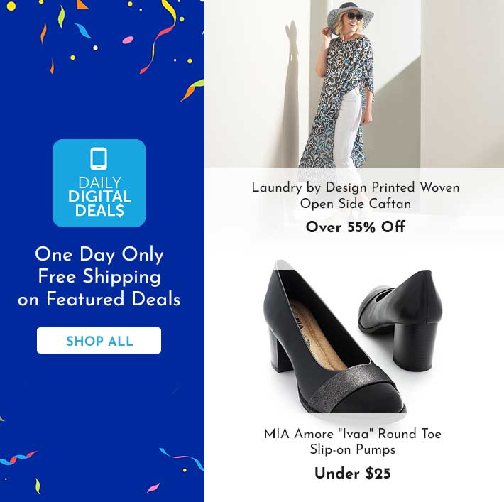 Shop All Daily Digital Deals -   742-029 Laundry by Design Printed Woven Open Side Caftan, 744-448 MIA Amore Ivaa Round Toe Slip-on Pumps