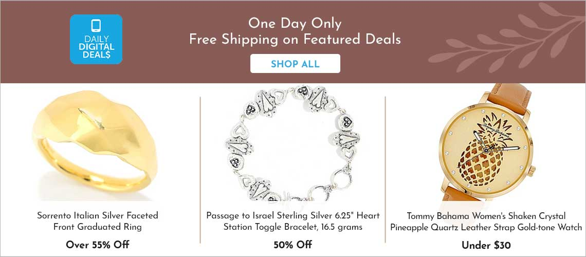 Daily Digital Deals -  183-410 Sorrento Italian Silver Faceted Front Graduated Ring,  189-261 Passage to Israel™ Sterling Silver 6.25 Heart Station Toggle Bracelet, 16.5 grams686-695 Tommy Bahama Women's Shaken Crystal Pineapple Quartz Leather Strap Gold-tone Watch,