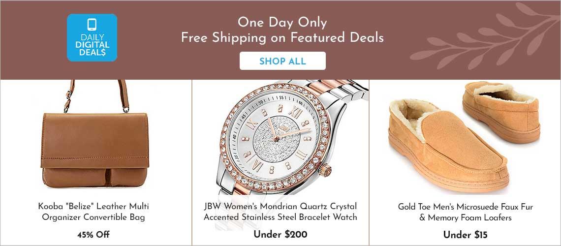 Daily Digital Deals - 746-057 Kooba Belize Leather Multi Organizer Convertible Bag, 633-196 JBW Women's Mondrian Quartz Crystal Accented Stainless Steel Bracelet Watch, 745-987 Gold Toe Men's Microsuede Faux Fur & Memory Foam Loafers,
