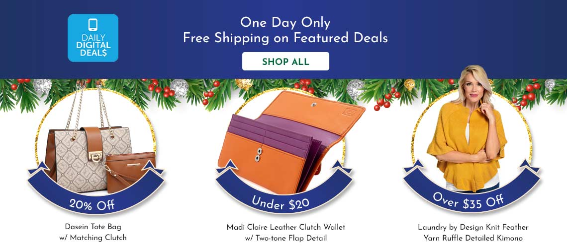746-013 Madi Claire Leather Clutch Wallet w Two-tone Flap Detail, 743-634 Laundry by Design Knit Feather Yarn Ruffle Detailed Kimono, 763-367 Dasein Tote Bag w Matching Clutch
