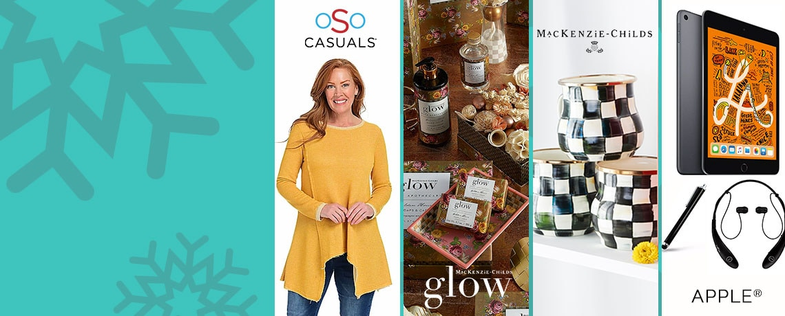 751-561 OSO Casuals® Loop Terry Knit Long Sleeve Crew Neck Sharkbite Tunic, 499-864 Glow Home Apothecary by MacKenzie-Childs Golden Hour Essentials Box w Bonus Tassel 484-468 Apple® iPad mini (4) 7.9 64GB Wi-Fi Tablet w Keyboard & Accessories,  467-983 MacKenzie-Childs Set of 4 (16 oz) Hand-Decorated Enamelware Mugs