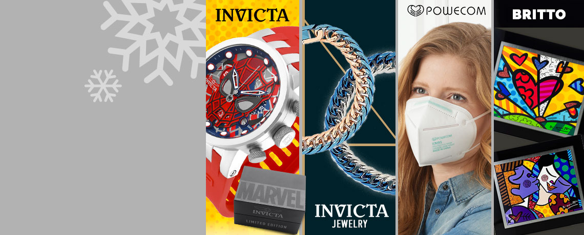 683-404 Invicta Marvel 46mm DNA Limited Edition Quartz Chronograph Silicone Strap Watch, 683-626 Invicta Elements Men's Stainless Steel 7.75 Two-tone Cuban Curb Link Bracelet,  003-312 Powecom 100 Pack Respirator FDA Authorized KN95 Masks for Personal Use,  486-134 Britto New Morris Romance or New Day Framed Canvas Digital Print