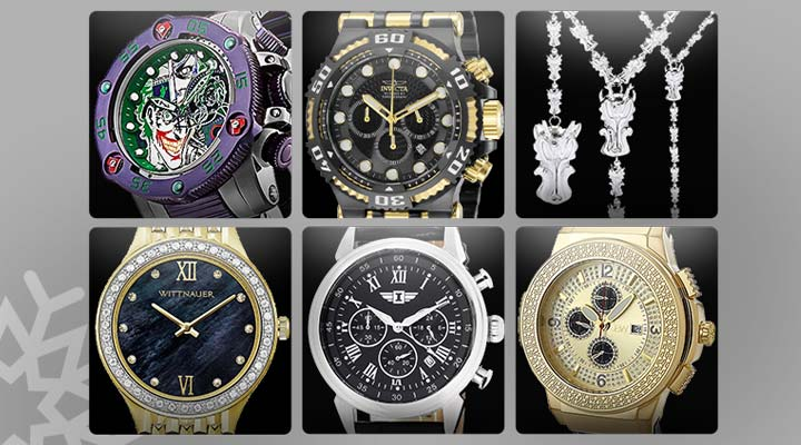 681-504 Invicta Reserve DC Comics Men's 52mm Sea Hunter Propeller Limited Edition Swiss Quartz Watch,  673-210 Invicta Men's 50mm Chaos Quartz Chronograph Stainless Steel Bracelet Watch,  685-061 Invicta Jewelry Stainless Steel 29 Dragon Head Rosary Necklace,  675-215 Wittnauer Women's Cosmopolitan Quartz 0.18ctw Diamond Accented Stainless Steel Bracelet Watch,  659-454 Invicta Men's 44mm I by Invicta Quartz Chronograph Date Leather Strap Watch,  633-204 JBW Men's 46mm Saxon Quartz Multi Function Diamond Gold-tone Leather Strap Watch