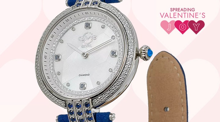 688-771 - TTV Presale GV2 by Gevril Women's Matera Swiss Made Quartz Diamond Accented Strap Watch