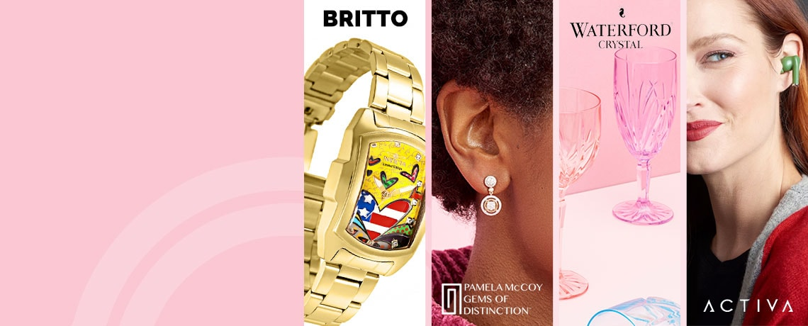 194-404 Gems of Distinction™ 14K Gold 0.75ctw Diamond 3-Way Pave Earrings, 682-701 Invicta Women's Britto Baby Lupah Quartz Limited Edition Crystal Accented Bracelet Watch,  482-129 Marquis by Waterford Set of 6 (12 oz) Brookside Pastel Glasses,  498-948 Activa Bluetooth Dynamic Wireless Earphones w Charging Case & Voice Assistant