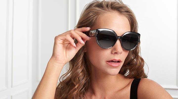 752-588 - Christian Dior DiorF 56mm Cat Eye Frame Sunglasses w Case