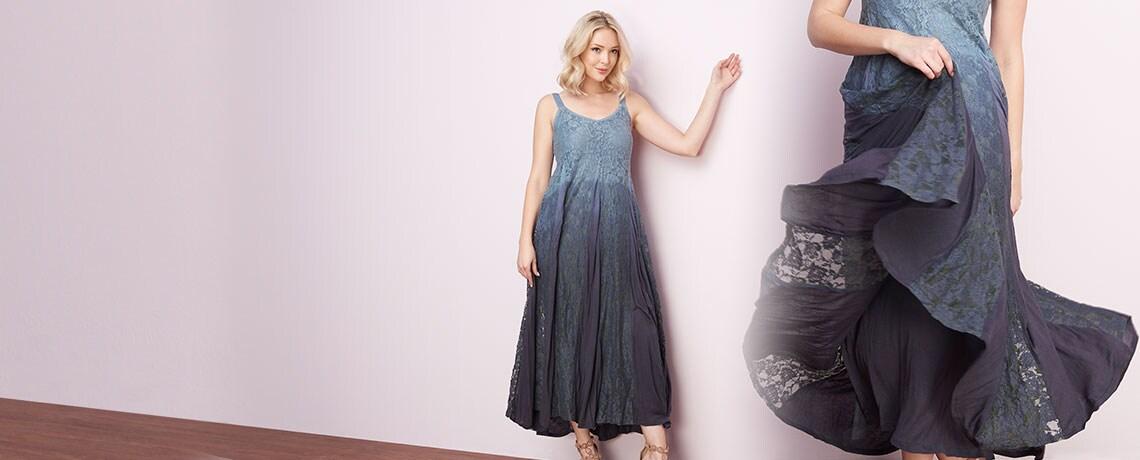 742-769 Indigo Thread Co.™ Lace & Jersey Knit Dip-Dye Sleeveless Smocked Back Lined Godet Dress