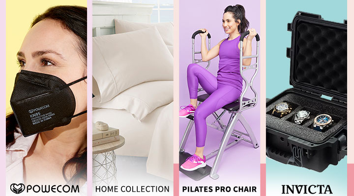 003-046 Powecom Choice of Quantity Respirator FDA Authorized KN95 Masks for Personal Use, 500-240 Home Collection Luxury Ultra Soft 6-Piece Solid Sheet Set, 004-542 Pilates PRO Chair Max w Sculpting Handles, 6 DVDs & Makeover Program Guide, 690-562 Invicta Collector's Set of 3 Watches in Dive Case