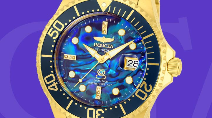 689-575 Invicta 38mm or 47mm Grand Diver Automatic Abalone Bracelet Watch w3-Slot Dive Case