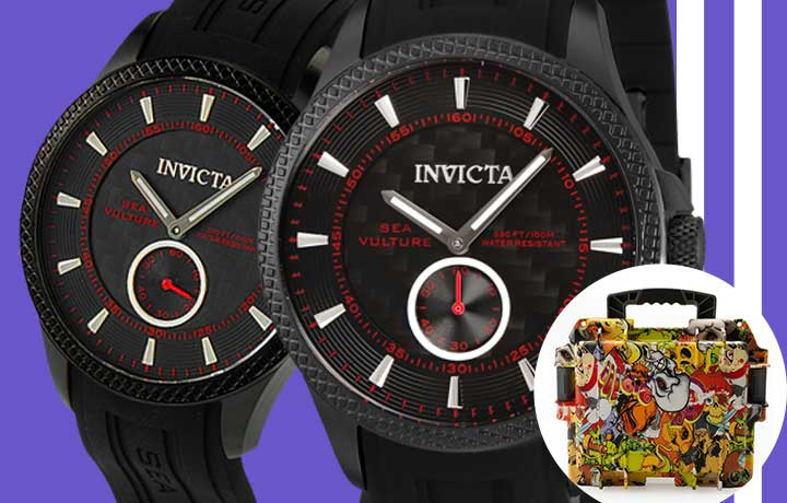 684-825 -  Invicta 40mm Sea Vulture Quartz Silicone Strap Watch w Graffiti 3-Slot Dive Case