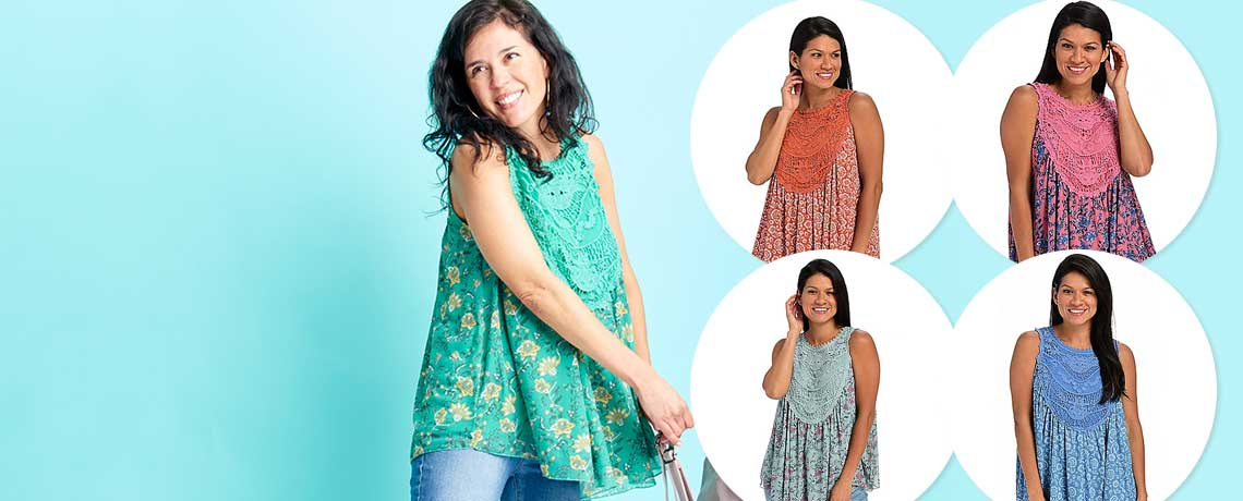 751-949 -   Indigo Thread Co.™ Crochet & Printed Mesh Partially Lined Babydoll Tank Top