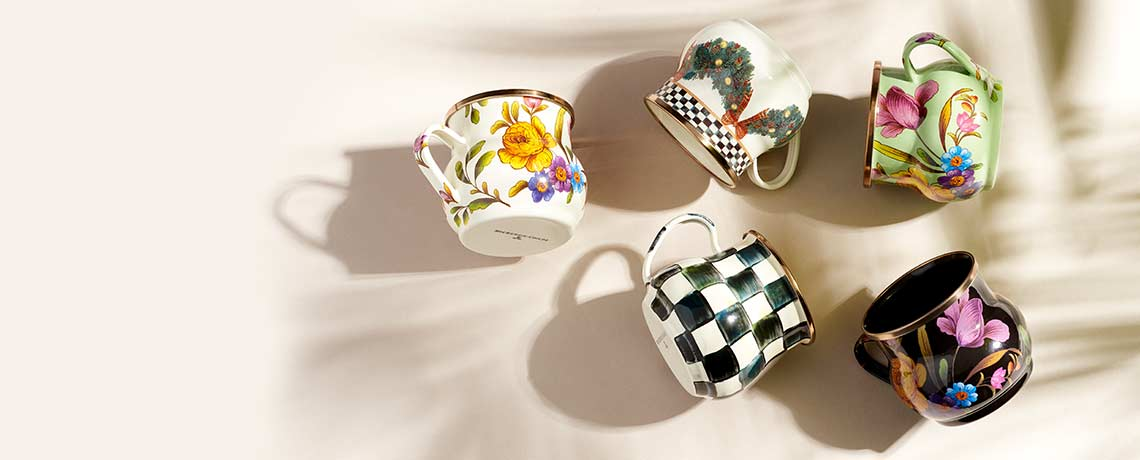 481-023 - TTV MacKenzie-Childs Set of 4 (16 oz) Mix & Match Hand-Decorated Enamelware Mugs