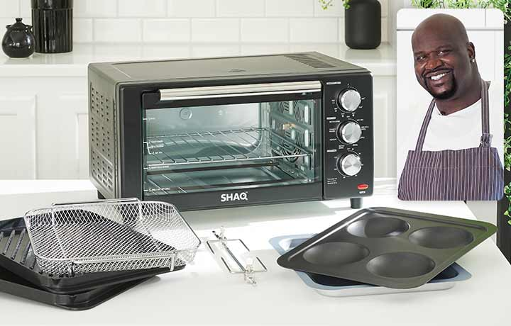 489-472 SHAQ 1500W 8-in-1 Stainless Steel Indoor 22L Air Fryer Grill w Accessories