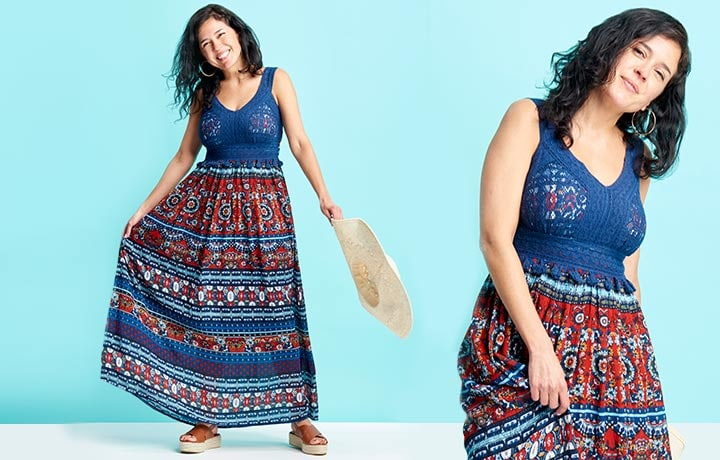 747-251 - TTV Indigo Thread Co.  Printed Woven & Crochet Sleeveless Tassel Detailed Maxi Dress