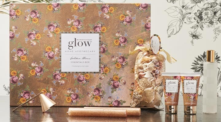 499-864 - Glow Home Apothecary logo Golden Hour Essentials Box w Bonus Tassel