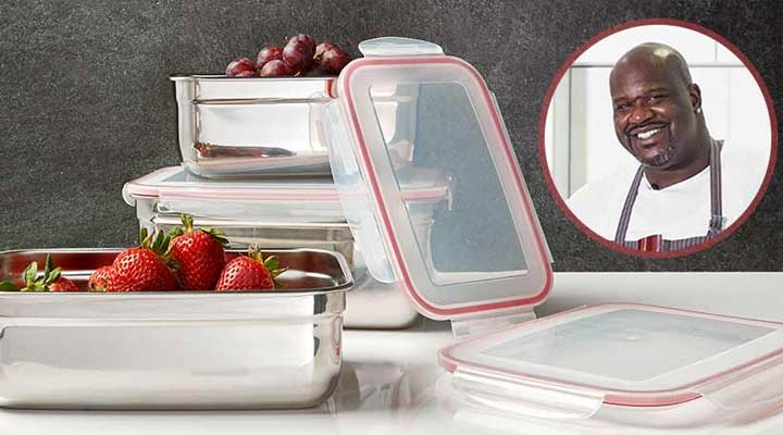 489-236 - Shaq  6-Piece Super Size Stainless Steel Food Storage Set w Snap Tight Lids