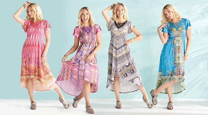 753-468 One World Micro Jersey Knit Flutter Sleeve Lace Applique Hi-Lo Dress