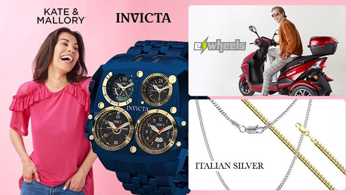 Today's Top Values & Deals -    750-725 Kate & Mallory® Knit & Mesh Elbow Sleeve Ruffle Detailed Keyhole Back Top, 692-093 Invicta Bolt Herc Reserve Men's 56mm Desert Warrior Swiss Quartz Chronograph Watch,  498-185 EWheels 3-Wheel 15mph Top Speed Electric Scooter w Lockable Storage & Extended Warranty, 195-702 Italian Sterling Silver 18K Gold Plated 22 or 24 4mm Miami Cuban Necklace, 195-705 Italian Sterling Silver Choice of Length 4mm Miami Cuban Necklace