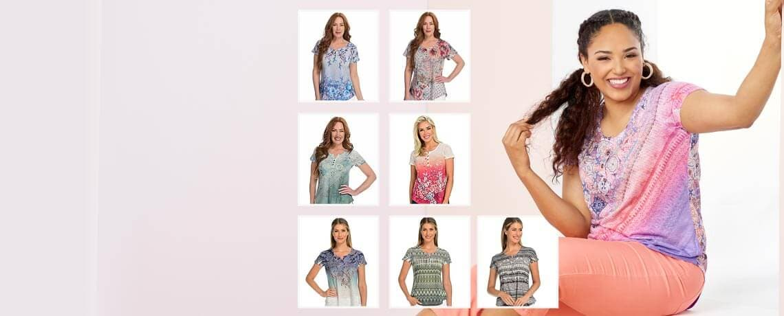 746-518 One World Printed Knit Short Sleeve Button Detailed Y-Neck Top