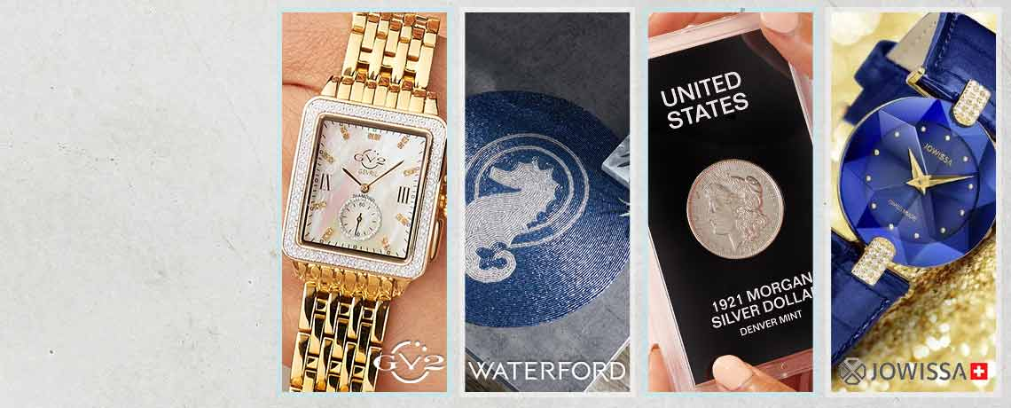 Today's Top Values & Deals -  694-231 GV2 by Gevril Women's Bari Limited Edition Swiss Made Quartz Diamond Accented Watch,  484-848 Waterford Set of 4 (15) Beaded Seahorse Design Charger Plates,  501-915 1921-D $1 Almost Uncirculated Morgan Silver Dollar Coin,  690-587 Jowissa Women's Facet Strass Swiss Quartz Crystal Accented Blue Leather Strap Watch