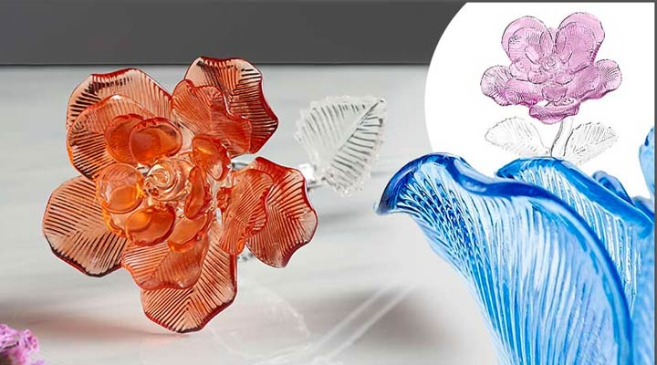440-196 Waterford Fleurology 14.5 Colored Sculpted Glass Rose