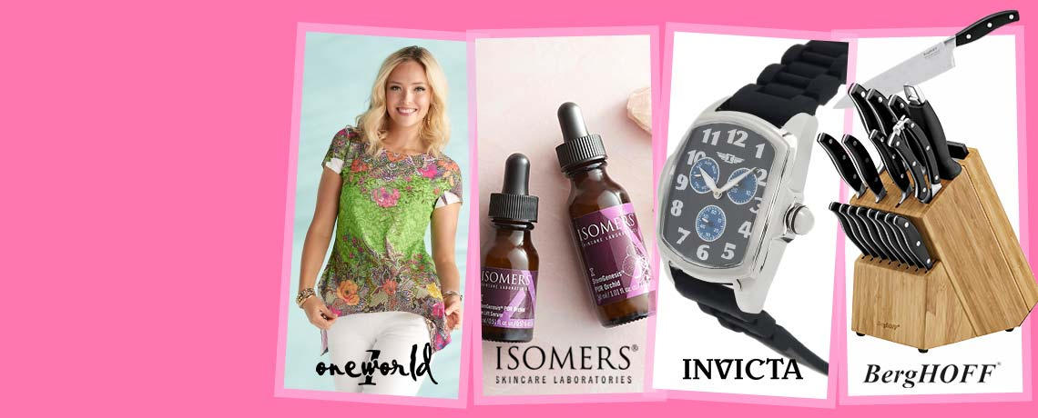 Today's Top Values & Deals -   753-466 One World Printed Knit Short Sleeve Scoop Neck Bustle Back Top, 316-255 ISOMERS Skincare Stem Genesis PUR Orchid Eye Lift & Face Serum Duo,  694-030 I by Invicta 44mm Quartz Day & Date Silicone Strap Watch,  480-682 BergHOFF Essentials 20-Piece Stainless Steel Cutlery Block Set w Cutting Boards