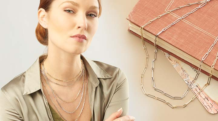 194-095  Stefano Oro 14K Gold Me E Te Choice of Color & Length Paperclip Link Necklace