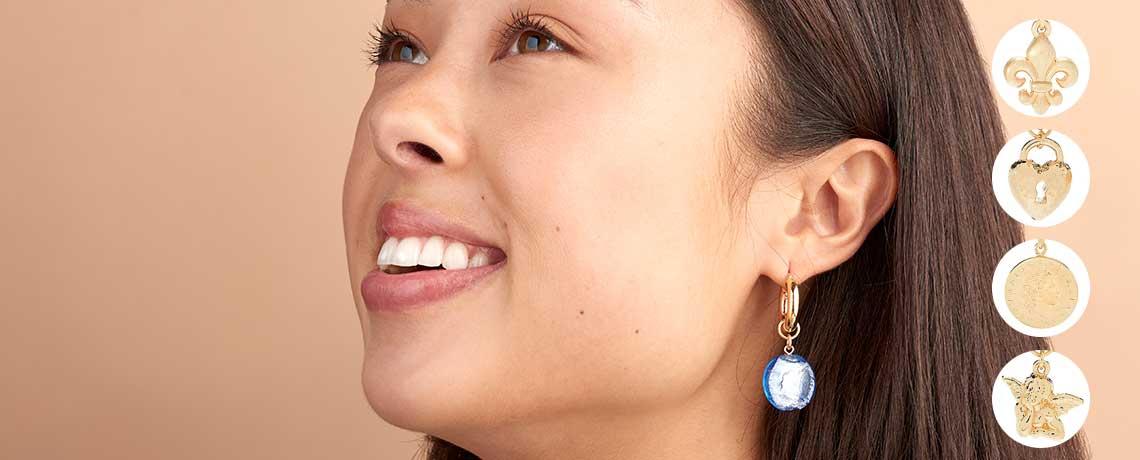199-377 Toscana Italiana 18K Gold Plated Choice of Charm Polished Hoop Earrings