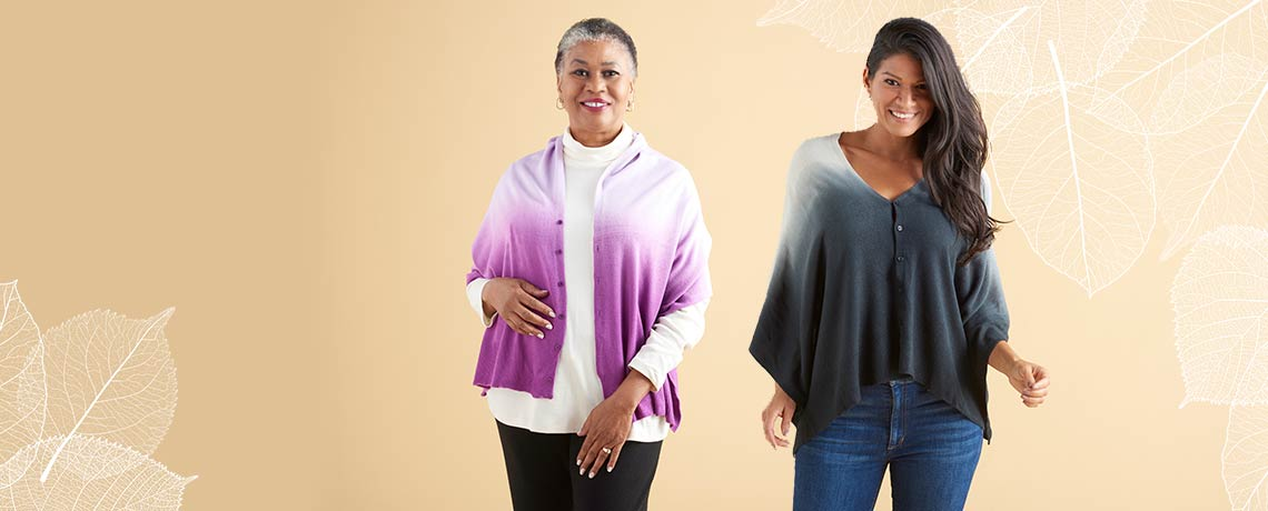 761-847 Kendall & James Ombre Knit Button Front Convertible Cardishawl
