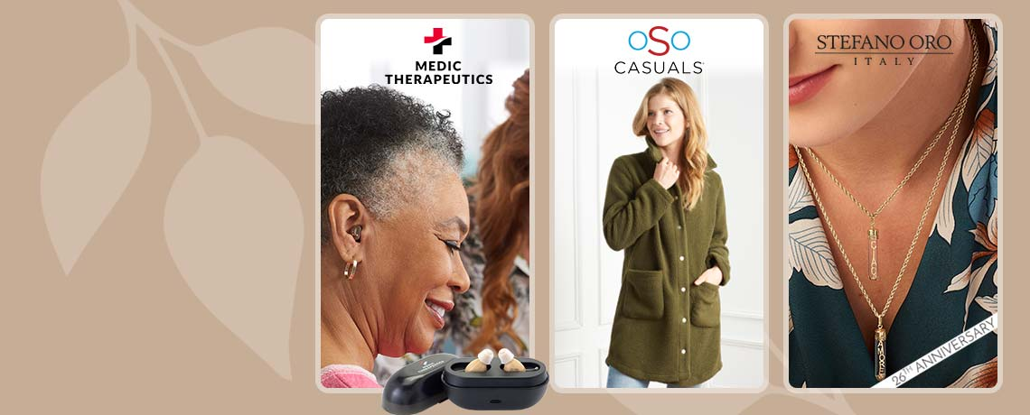 Today's Top Values & Deals  -   004-049 Medic Therapeutics Medical Grade Invisible Fit Hearing Aids w Charging Case,  756-087 OSO Casuals® Sherpa Snap Front Patch Pocket Jacket,  194-656 Stefano Oro 14K Gold Choice of Message in a Bottle Pendant