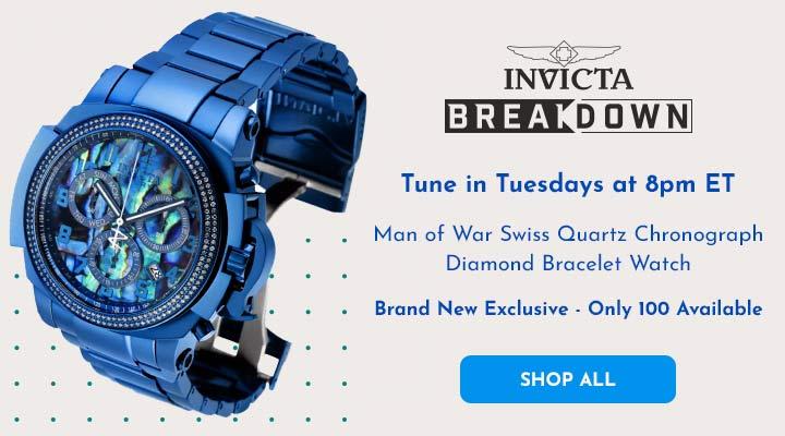 689-792 Invicta Reserve Man of War Swiss Quartz Chronograph Diamond Bracelet Watch