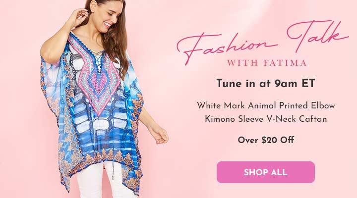 754-627 White Mark Animal Printed Elbow Kimono Sleeve V-Neck Caftan
