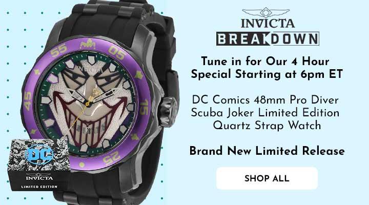 693-750 Invicta DC Comics 48mm Pro Diver Scuba Joker Limited Edition Quartz Strap Watch