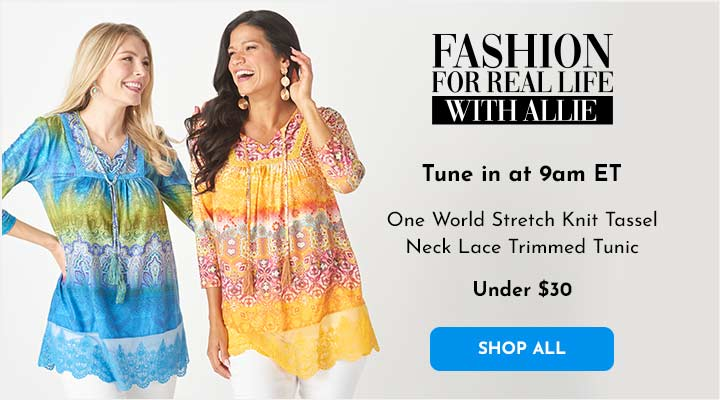 753-965 One World Stretch Knit Tassel Neck Lace Trimmed Tunic