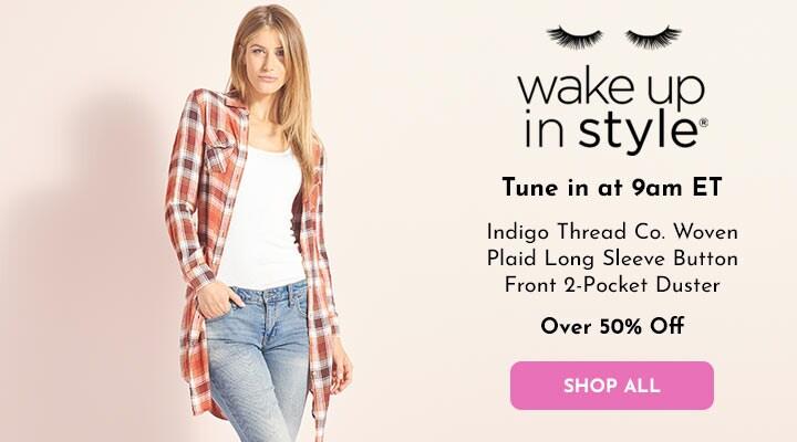749-556 Indigo Thread Co.™ Woven Plaid Long Sleeve Button Front 2-Pocket Duster