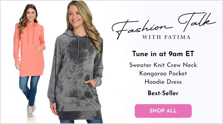 752-974 White Mark Sweater Knit Crew Neck Kangaroo Pocket Hoodie Dress