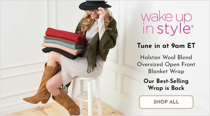 750-589 Halston Wool Blend Oversized Open Front Blanket Wrap
