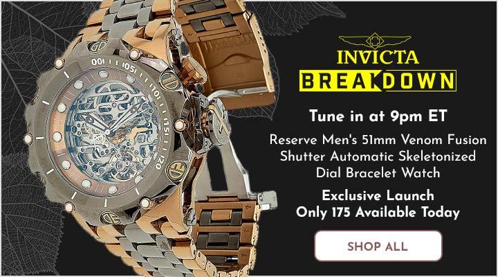 693-276 Invicta Reserve Men's 51mm Venom Fusion Shutter Automatic Skeletonized Dial Bracelet Watch
