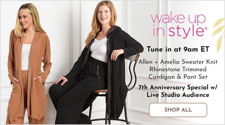 760-757 Allen + Amelia Sweater Knit Rhinestone Trimmed Cardigan & Pant Set
