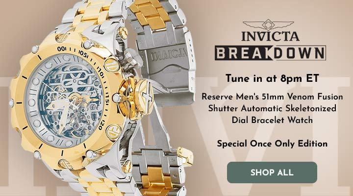 693-272 Invicta Reserve Men's 51mm Venom Fusion Shutter Automatic Skeletonized Dial Bracelet Watch