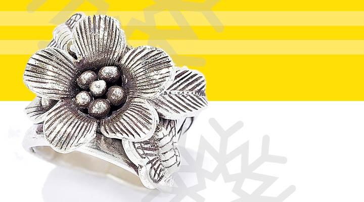 193-737 Artisan Silver by Samuel B. Flower & Butterfly Artisan Woven Band