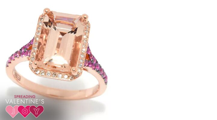 188-078 Effy 14K Morganite Pink Sapphire & Diamond Ring