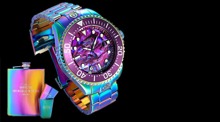 682-428 - Invicta 54mm Grand Diver Automatic Abalone Dial Iridescent Bracelet Watch w Dive Case & Flask