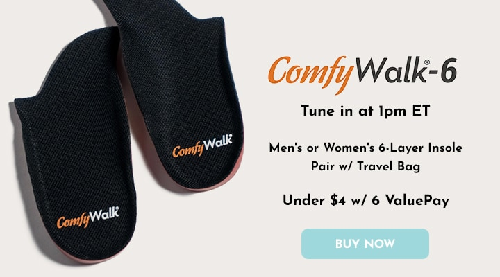 002-684 Comfy Walk Men's or Women's 6-Layer Insole Pair w Travel Bag