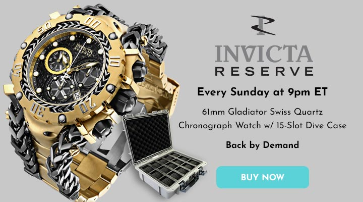 688-790 Invicta Reserve Men's 61mm Gladiator Swiss Quartz Chronograph Watch w 15-Slot Dive Case