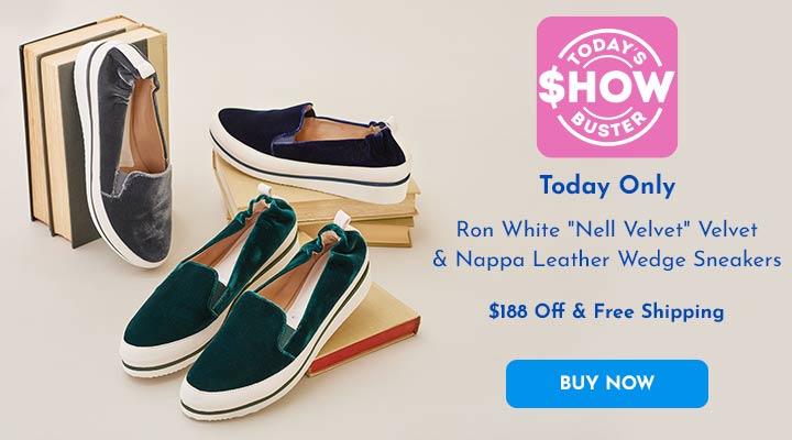 743-947 Ron White Nell Velvet Velvet & Nappa Leather Wedge Sneakers