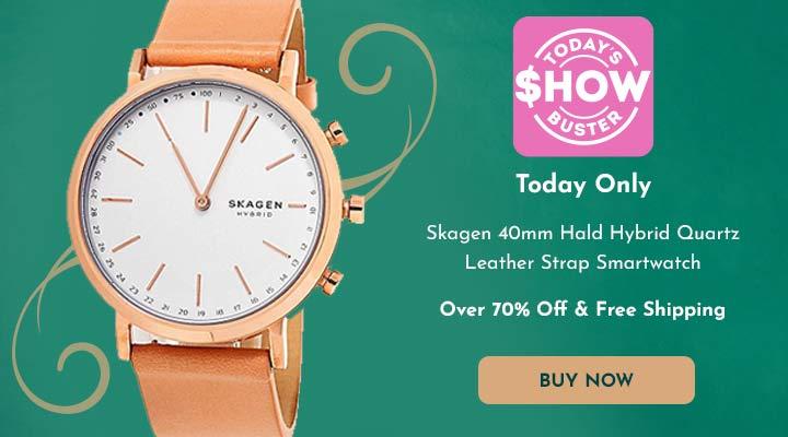 671-182 Skagen 40mm Hald Hybrid Quartz Leather Strap Smartwatch