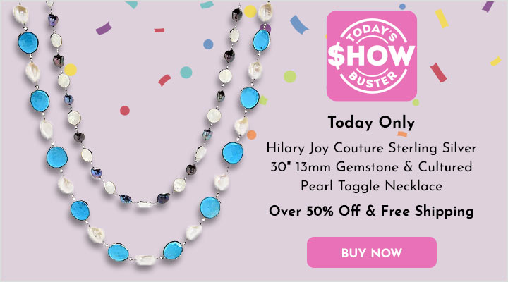184-810 Hilary Joy Couture Sterling Silver 30 13mm Gemstone & Cultured Pearl Toggle Necklace